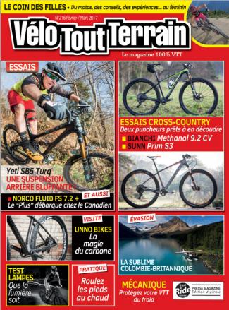 Velo Tout Terrain Magazine numéro 216 janvier Février 2017 couverture